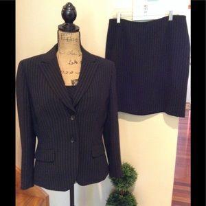 Tahari 3 piece skirt suit. Pinstriped. Navy